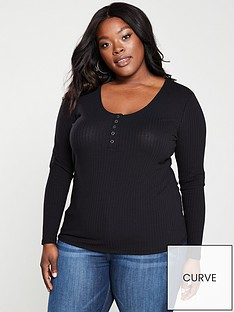 v-by-very-curve-henley-front-ribbed-top-black