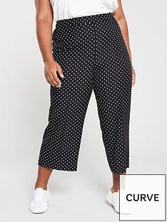 52c04079566b V by Very Curve Spot Crop Wide Leg Trouser - Print