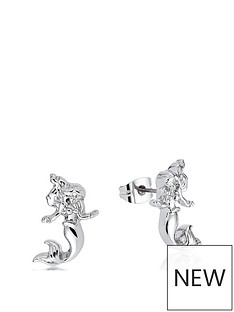 disney-disney-princess-14kt-white-gold-plated-ariel-mermaid-stud-earrings