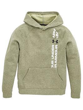 under-armour-childrens-rival-wordmark-hoodie-khaki