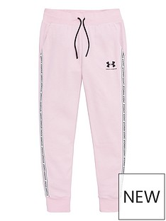 under-armour-girls-sportstyle-fleece-pants-pink