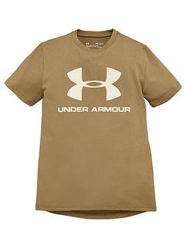 under-armour-sportstyle-logo-short-sleeve-t-shirt-khaki