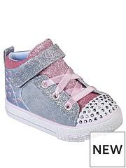 3e6a41d8aaea Skechers Toddler Shuffle Lite Dainty Denim Hi Top Trainers - Blue Pink