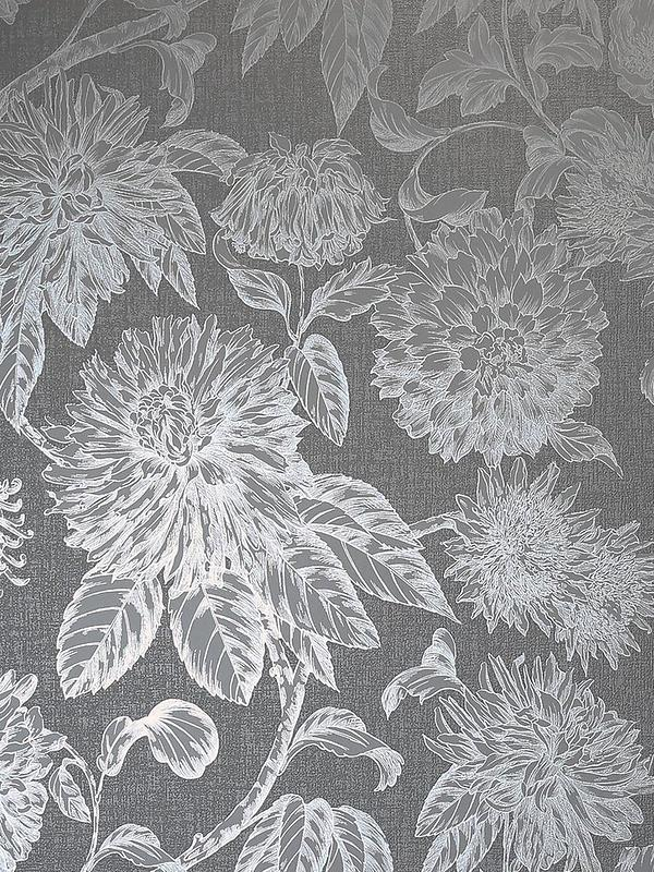 Luxe Botanica Gunmetal And Silver Wallpaper