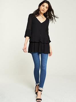 v-by-very-pleated-buttoned-tiered-tunic-black