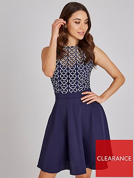 little-mistress-geo-crochet-top-skater-dress-navy