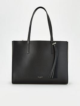 ted-baker-narissa-leather-tassel-detail-tote-bag-black