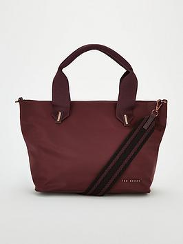 ted-baker-macieyy-plain-small-nylon-tote-bag-oxblood