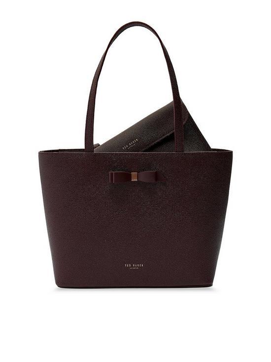8162662f0c59 Jjesica Bow Detail Leather Shopper Tote Bag - Oxblood