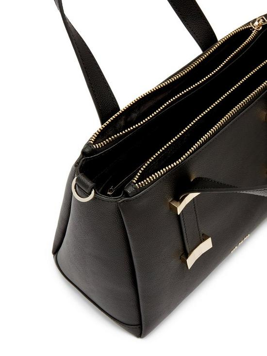 bb454141c94 Julieet Leather Adjustable Handle Small Tote Bag - Black