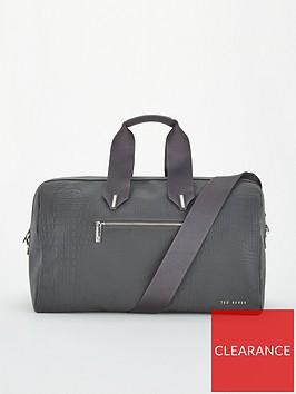 ted-baker-davinna-reflective-croc-nylon-duffle-bag-black