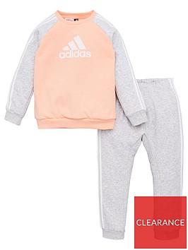 adidas-infant-logo-crewjogger-set-coral