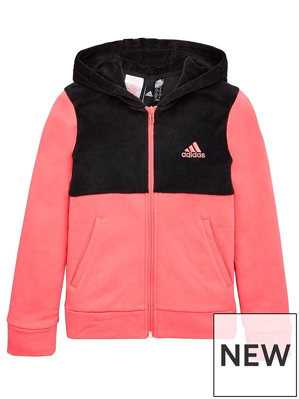 Junior ID Winter Velour Hooded Full Zip Hoodie Pink