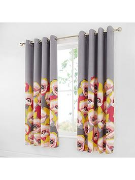 catherine-lansfield-modernist-poppy-eyelet-curtains