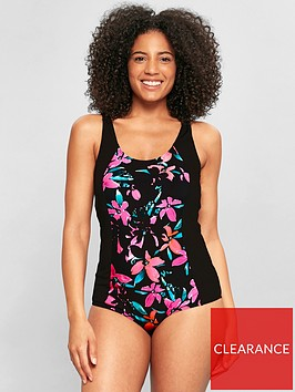evans-blocked-floral-spot-swimsuit-black