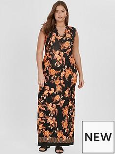 evans-black-floral-tassle-maxi-dress