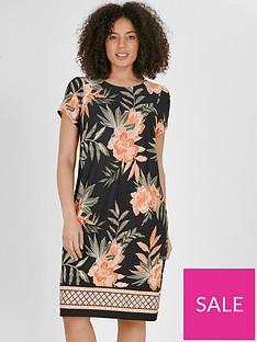 evans-floral-border-shift-dress-black