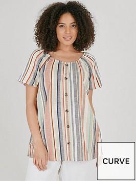 evans-stripe-button-through-bardot-top