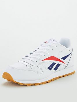 reebok-classic-leather-junior-trainers-whitenavyred