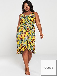e37d956483d7 Oasis Bali Tropical Wrap Midi Dress - Yellow/Multi