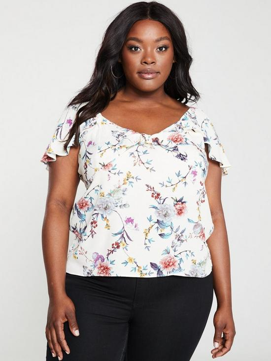 be98272f14c5 Oasis Oasis Curve Botanical Print Tie Front Top   very.co.uk