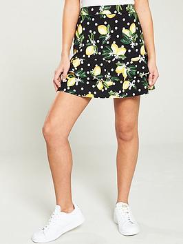 oasis-linen-look-lemon-flippy-skirt-multi