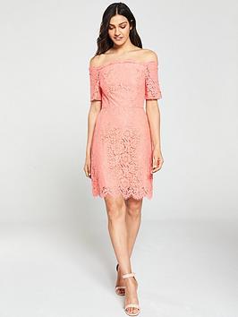 oasis-lace-bardot-shift-dress-coralnbsp