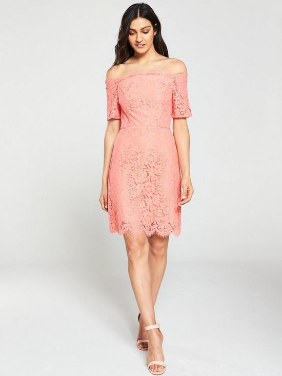 dbfbe223703f Oasis Lace Bardot Shift Dress - Coral | very.co.uk