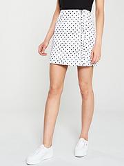57a5fd135e7c Oasis Spot Print Ruffle Denim Skirt - Multi