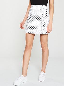oasis-spot-print-ruffle-denim-skirt-multi