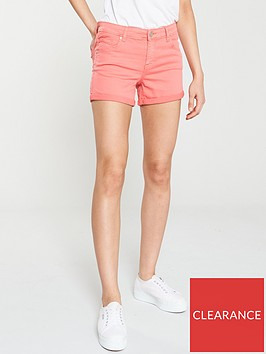 oasis-abigail-coloured-denim-short-coral