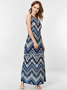 wallis-petite-chevron-tie-dye-maxi-dress-blue