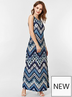 8501a42853 Wallis Petite Chevron Tie Dye Maxi Dress - Blue