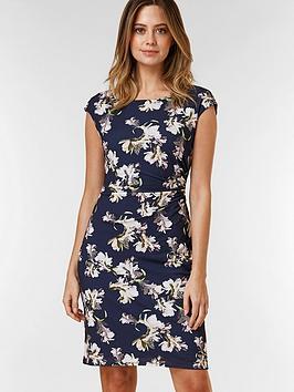 wallis-petite-floral-ruched-side-dress-navy