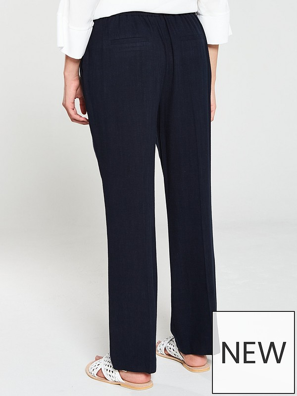 7f142040fe40c Wallis Tie Front Linen Trouser - Navy | very.co.uk