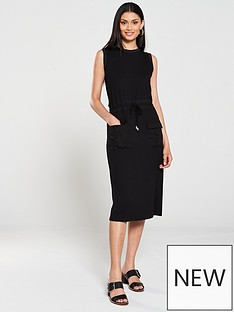 warehouse-utility-drawstring-midi-dress-black