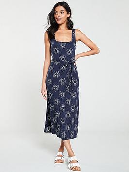warehouse-sun-spray-print-square-neck-dress-navy