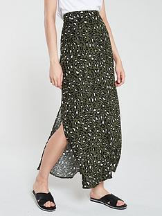 warehouse-leopard-side-split-skirt-khaki