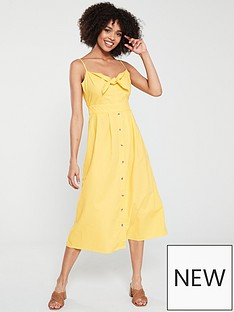 abb69f61203f Warehouse Tie Front Linen Midi Dress - Yellow