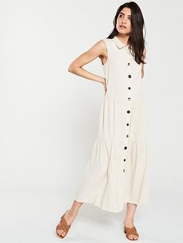 warehouse-linen-tiered-shirt-midi-dress-stone