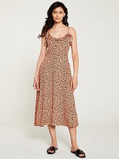 warehouse-little-leopard-frill-cami-dress-orange