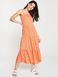 warehouse-spot-tiered-dress-orange-print