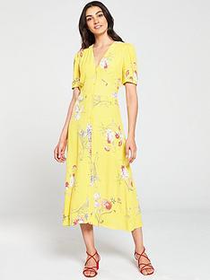 warehouse-iris-floral-tea-dress-yellow