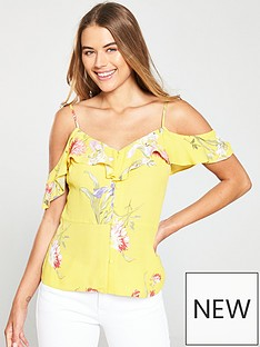warehouse-iris-floral-top-yellow-print