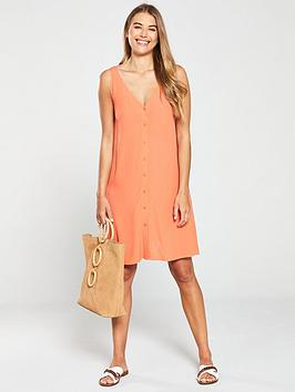 warehouse-button-through-v-neck-dress-orange