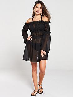 south-beach-sheer-off-shoulder-beach-dress-black