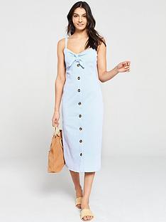 warehouse-seersucker-knot-front-dress-blue