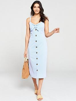warehouse-seersucker-knot-front-dress-blue