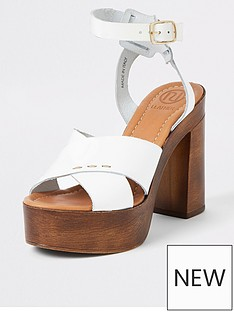 6fa4e375151 River Island River Island Leather Cork Sole Heeled Sandals - White
