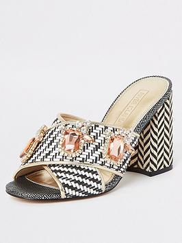 river-island-river-island-embellished-mule-heel-sandals-mono